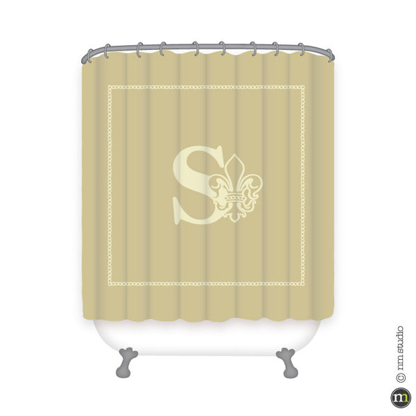 Sheraton Initial Fleur De Lis Shower Curtain Personalized