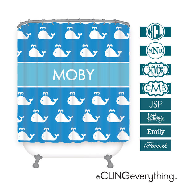 Whale Shower Curtain Personalized Monogram, Initial, Name
