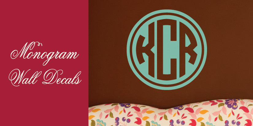 Rimmed Circle Monogram Wall Decal
