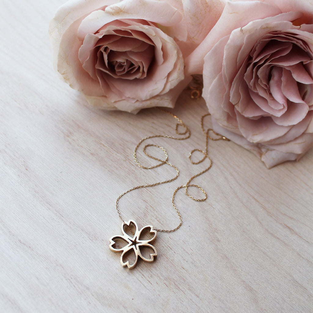 Sakura Necklace - Large, Yellow Gold