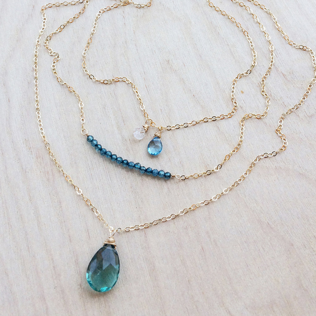 Oborozuki Necklace - Blue Fluorite
