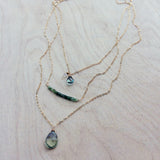 Oborozuki Necklace - Green Amethyst