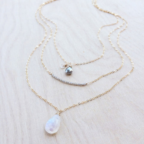 Oborozuki Necklace - Moonstone
