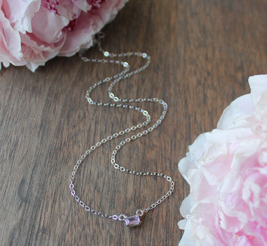 Pink Sapphire Emerald Cut Necklace - Sterling Silver