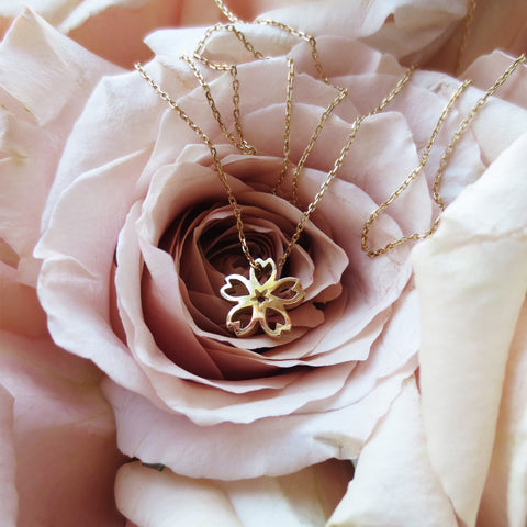 Sakura Necklace - Small, Yellow Gold