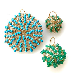Sonya Ooten hand-crocheted gold-filled Cosmos earrings with sea-green quartz