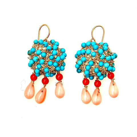 Turquoise Mini Cosmos Earrings with Dangles