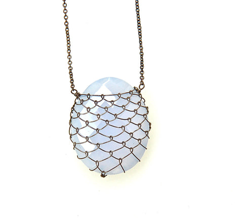 Blue Chalcedony/oxidized silver fishnet Slice Necklace