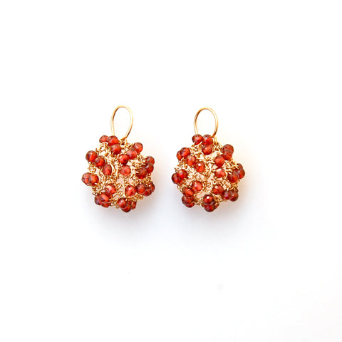 Garnet/gold-filled mini cosmos earrings