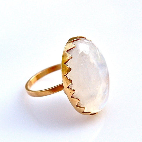 Moonstone Ring with Zig-Zag Bezel