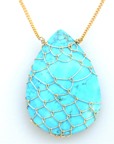 Fishnet Turquise Teardrop Necklace