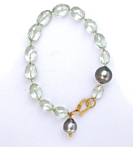 Green Quartz & South Sea Pearl Bracelet