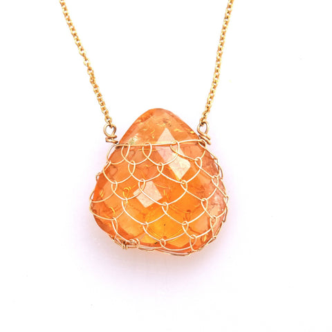 Citrine Fishnet Gemstone Necklace