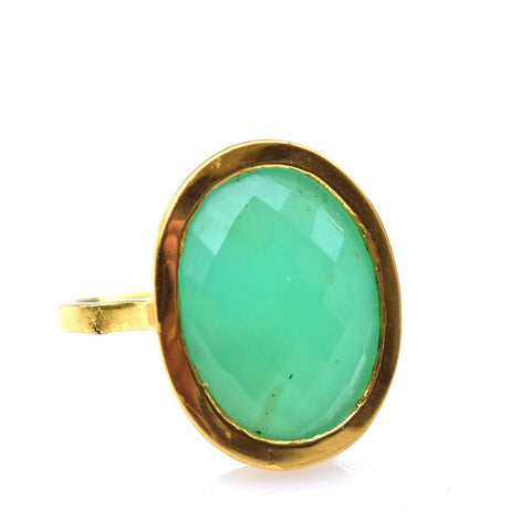 18k Gold & Chrysoprase Ring