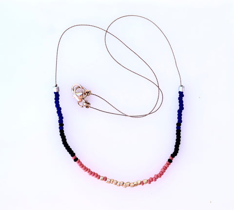 Cobalt mix seed bead necklace