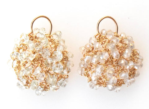 Crystal quartz/gold-filled mini cosmos earrings