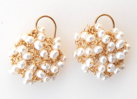 White pearl/gold-filled mini cosmos earrings