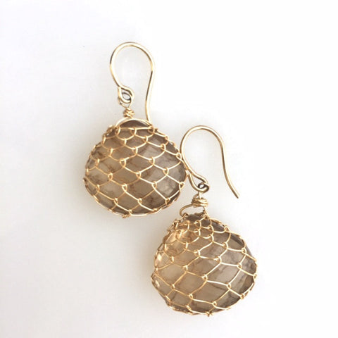 Smokey Quartz Fishnet Earrings