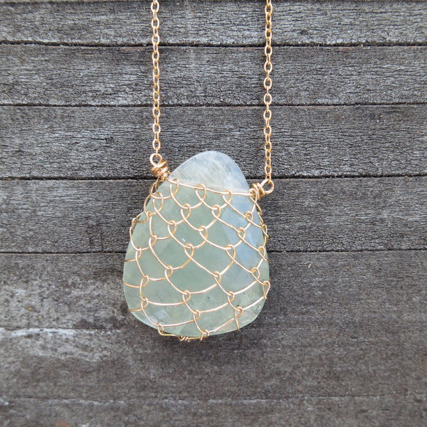 Sonya Ooten fishnet aquamarine gemstone slice necklace