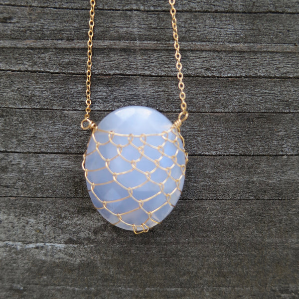 Sonya Ooten blue chalcedony fishnet gemstone slice necklace