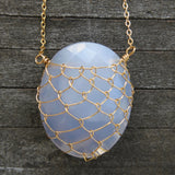 Blue Chalcedony/Gold-Fill Fishnet Gemstone Necklace