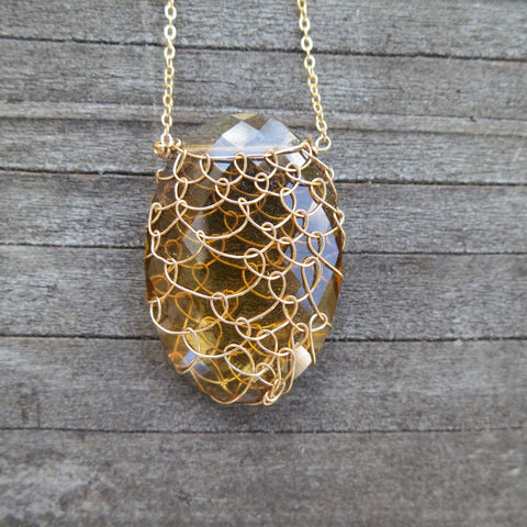 Cognac Quartz/Gold-Fill Fishnet Gemstone Necklace