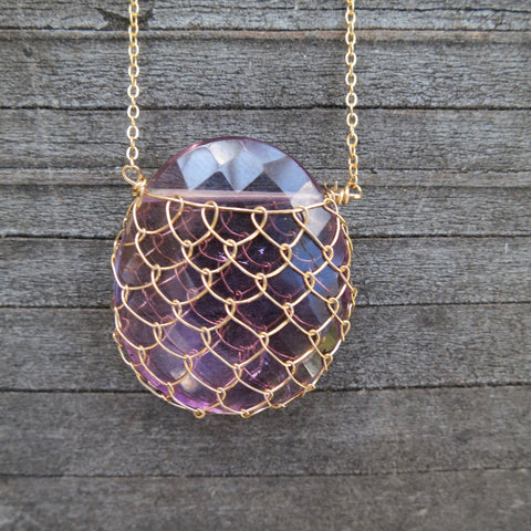 Sonya Ooten fishnet amethyst gemstone slice necklace
