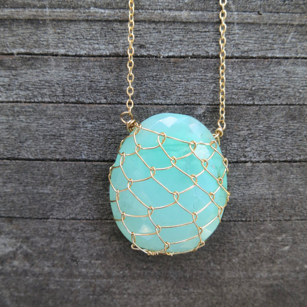 Sonya Ooten fishnet chrysoprase gemstone slice necklace
