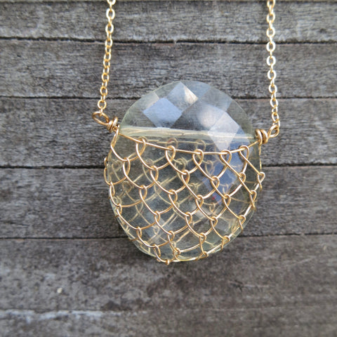 Sonya Ooten fishnet green quartz gemstone slice necklace