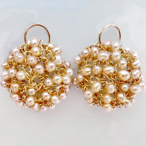 Pink Pearl/Gold-Filled Mini Cosmos Earrings