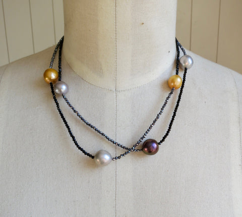 Multi-color Pearl, Pyrite and Black Spinel Necklace