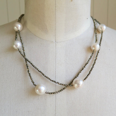 White Pearl and Pyrite Necklace