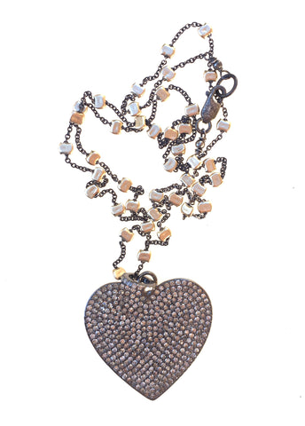 Diamond Heart Pendant on Sprinkle Chain