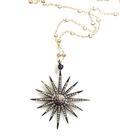 Diamond Starburst Pendant on Sprinkle Chain