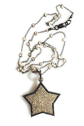 Large Diamond Star Pendant on Sprinkle Chain