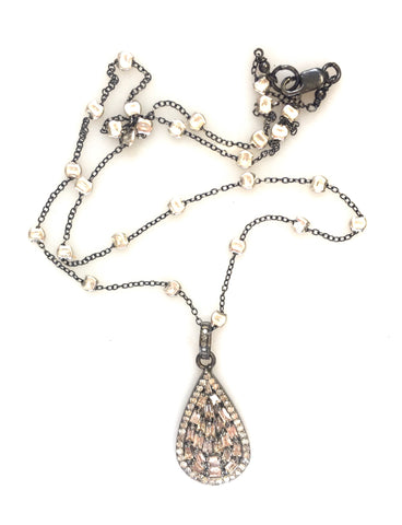 Diamond Baguette Teardrop Pendant on Sprinkle Chain