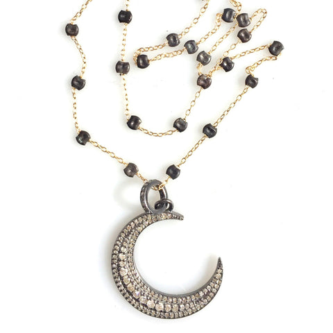 Diamond Crescent Pendant on Sprinkle Chain