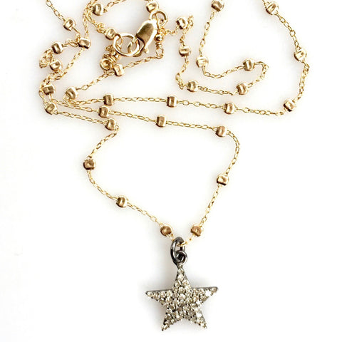 Small Diamond Star Pendant on Sprinkle Chain
