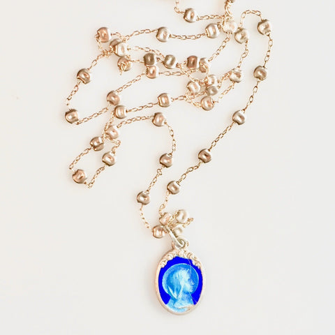Vintage Virgin Mary Enamelled Pendant on Sprinkle Chain