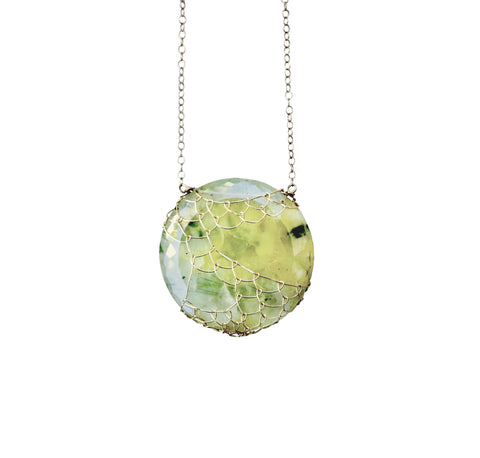 "Prehnite  Medallion ""Ripped Fishnet"" necklace"