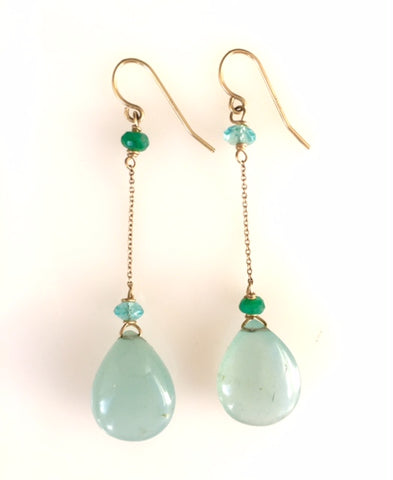 Aquamarine Simple Drop Earrings