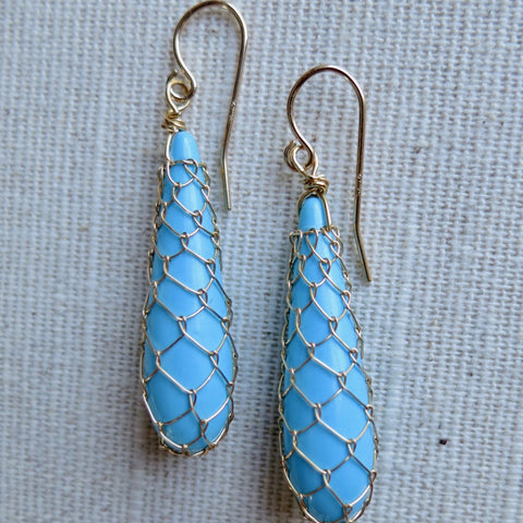 Fishnet Reconstituted Turquoise Drop Earrings