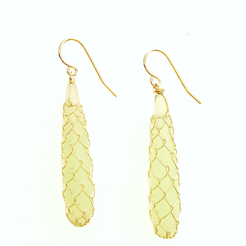 Fishnet Matte Seaglass Drop Earrings