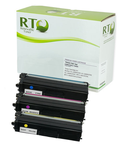 RT Compatible Brother TN-433 Toner Set, High Yield (CMY)