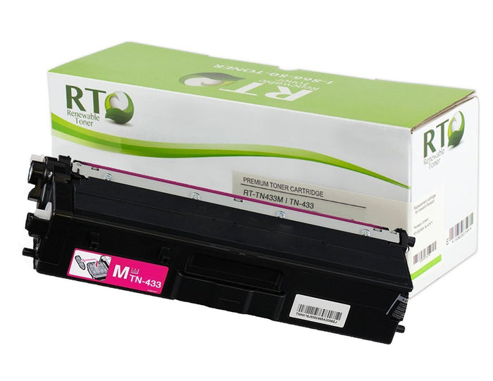 RT Compatible Toner Cartridge Replacement for Brother TN433 TN-433M High Yield (Magenta)