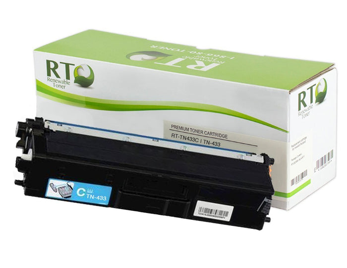 RT Compatible Toner Cartridge Replacement for Brother TN433 TN-433C High Yield (Cyan)