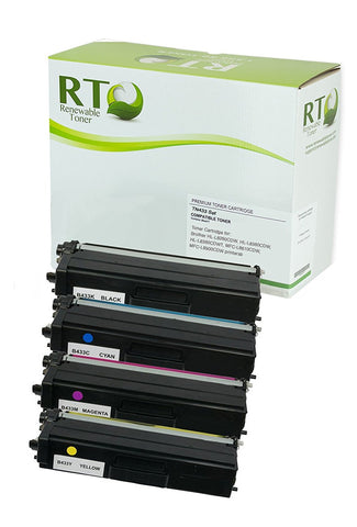 RT Compatible TN-433 Color Toner Set (CMYK, 4-pack) High Yield
