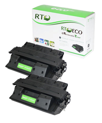 Renewable Toner Compatible Toner Cartridge High Yield Replacement HP 27X C4127X for use in HP LaserJet 4000 4050 (Black, 2-Pack)