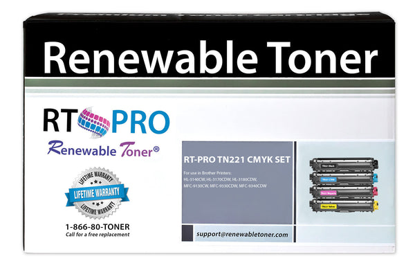 RT PRO Compatible Toner Cartridge Replacement for Brother TN-221 TN-225 Color Set (CMYK, 4-Pack)