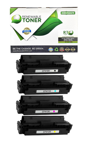 RT Compatible HP 410X Color Toner Set, High Yield (CMYK, 4-Pack)